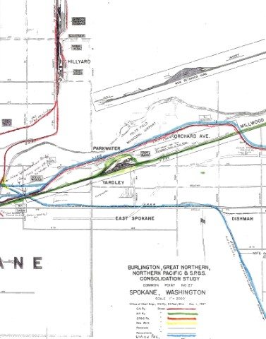 Railroad map of Spokane (EAST) circa 1957, distributed at GNRHS Spokane convention by Bob Downing.