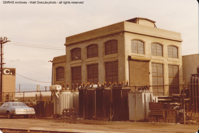 1978 photo of the GN substation in downtown Wenatchee, originally built to serve the Wenatchee-Skykomish electrified district from 1929 to 1956.  Photo by GNRHS member Walt Grecula.